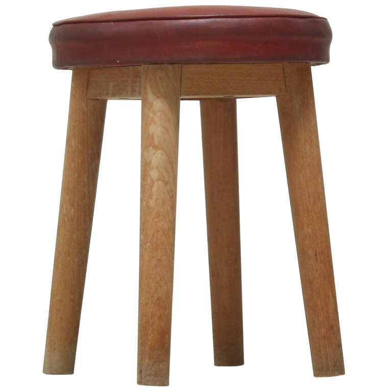 1940s wooden four legged stool, red naugahyde seat 1