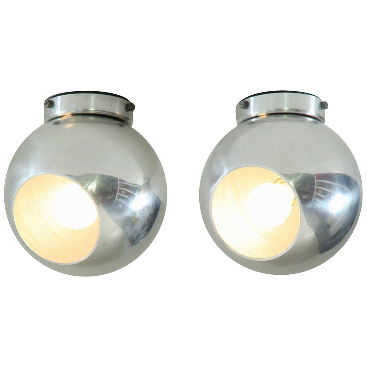 Pair Of Gino Sarfatti Flush Mounts Or Spot Lights
