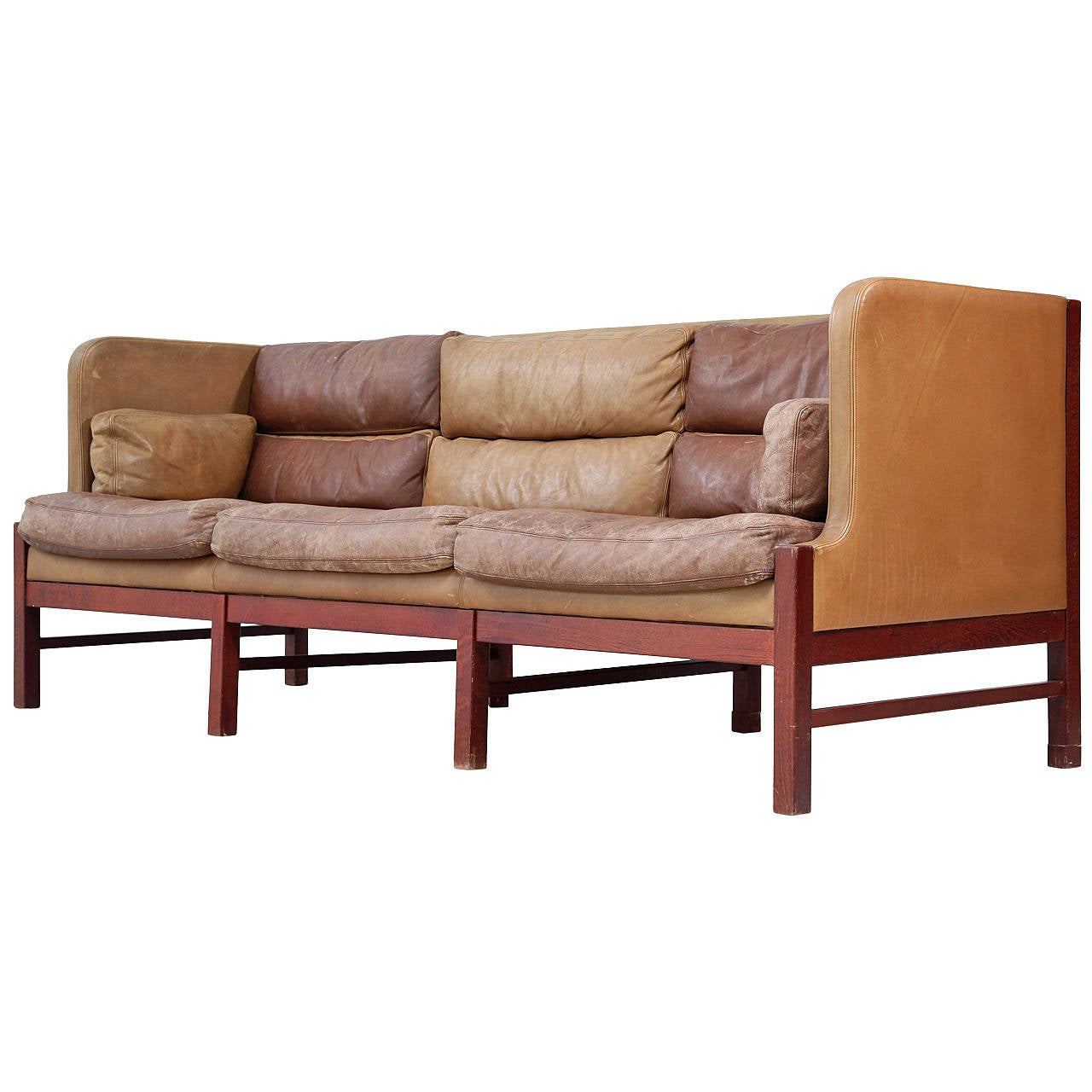 High back three seat sofa in duo tone brown leather at 1stdibs for High back leather sectional sofa