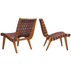 Pair of Early 654w Jens Risom Lounge Chairs in Original Condition