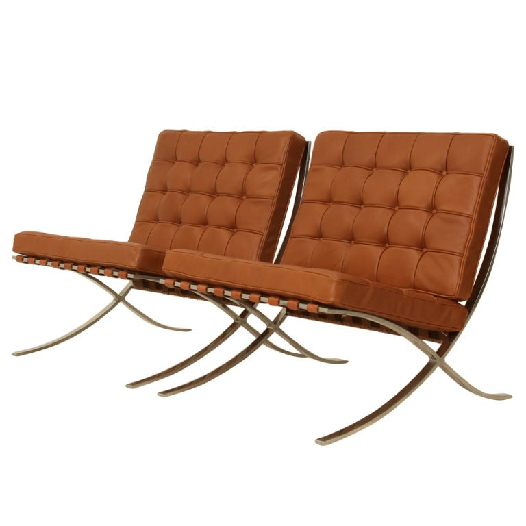 Pair Original Barcelona Chairs 1st Knoll Edition 1950s At 1stdibs