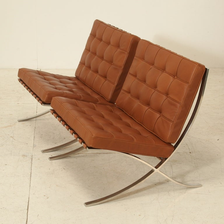 pair original barcelona chairs 1st knoll edition 1950s at 1stdibs. Black Bedroom Furniture Sets. Home Design Ideas