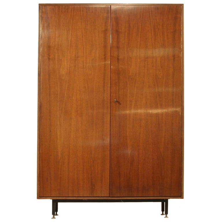 Pair de coene knoll cupboards in walnut at 1stdibs for Furniture of america wolfgang home bar cabinet
