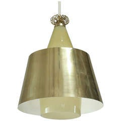 Paavo Tynell Amber Coloured Glass and Brass Pendant