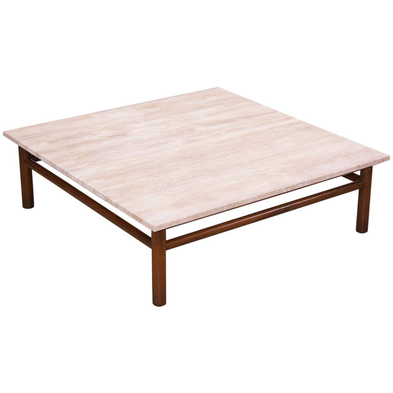 Coffee Table By T H Robsjohn Gibbings For Widdicomb With Travertine Top For Sale At 1stdibs