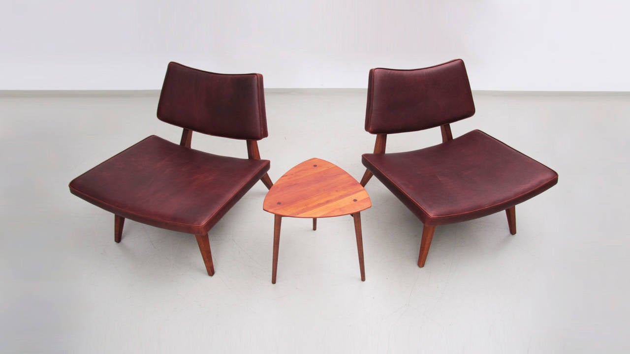 rare jens risom walnut slipper lounge chairs in leather at 1stdibs