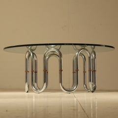 Sidetable with flexible chrome legs and wooden connections, 1960s