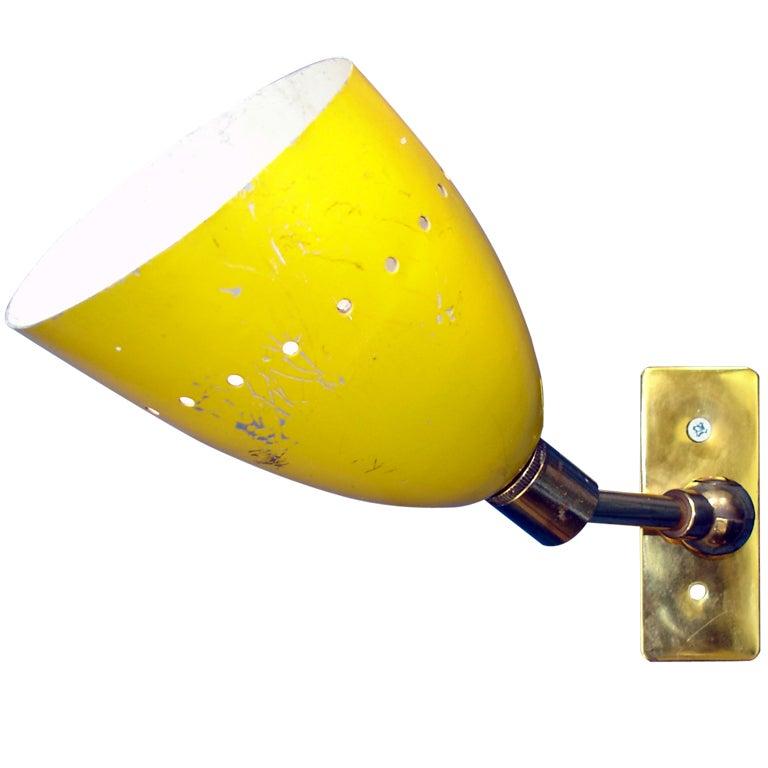 Yellow Wall Lamps : Wall Lamp Fifties Yellow Shade at 1stdibs