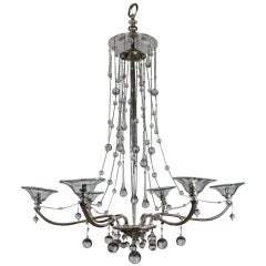Unusual French Silver Chandelier Hung with Glass Baubles