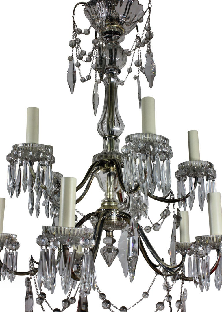 A Silver And Cut Glass Chandelier By Faraday And Son At