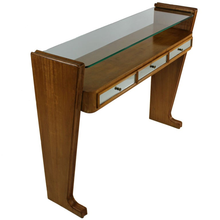 A stylish italian console with mirrored drawers at 1stdibs for Mirrored console with drawers