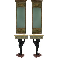 A Pair Of Baltic Consoles & Matching Pier Mirrors
