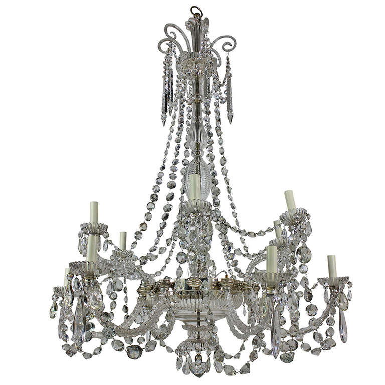 Fine English Cut-Glass Chandelier by Perry & Co