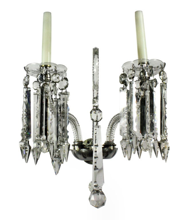 Cut Glass Wall Lights : A Pair Of English Cut Glass Wall Lights For Sale at 1stdibs