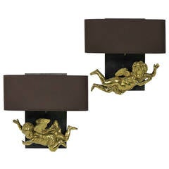 Pair of Cherub Wall Sconces