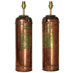 A Pair Of American Copper Fire Extinguisher Lamps c.1900