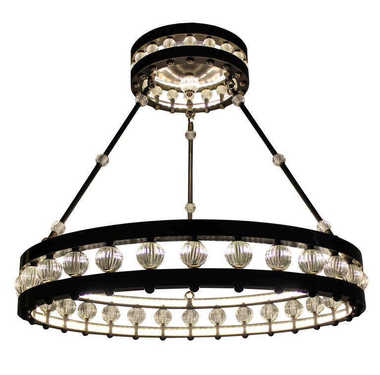 Large deco style corona chandelier for sale at 1stdibs a large art deco style corona chandelier in bronzed metal with glass beads this chandelier mozeypictures Images