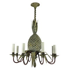 A 40's American Painted Tole Pineapple Chandelier