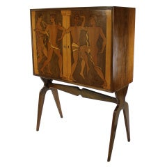 A Fine Italian Marquetry Cabinet Depicting Classical Male Youths