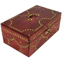 A Fine English Box In Studded Red Moroccan Leather