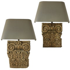 A Pair Of 18th Century Carved Capitals As Wall Lights