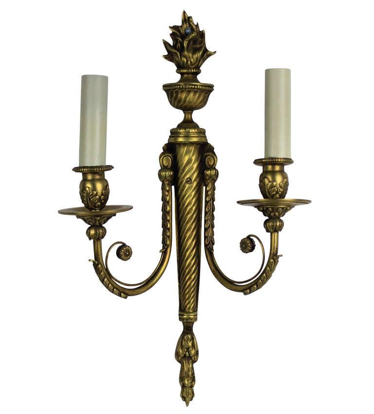 Set of Six French Gilt Brass Wall Lights, circa 1900 at 1stdibs