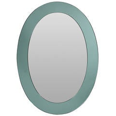 Attractive Italian Oval Mirror with a Pale Green Border
