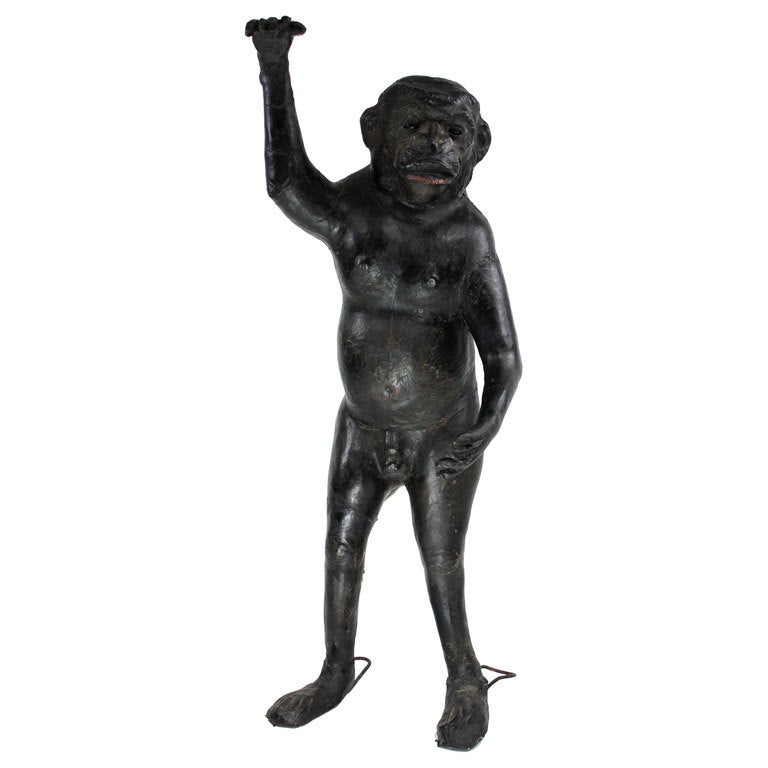 Life Size 19th Century French Leather Monkey For Sale