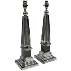 Pair of Shagreen and Silver Plated Obelisk Lamps