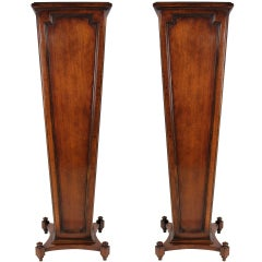 A Pair Of Large English Mahogany Pedestals Of Fine Quality