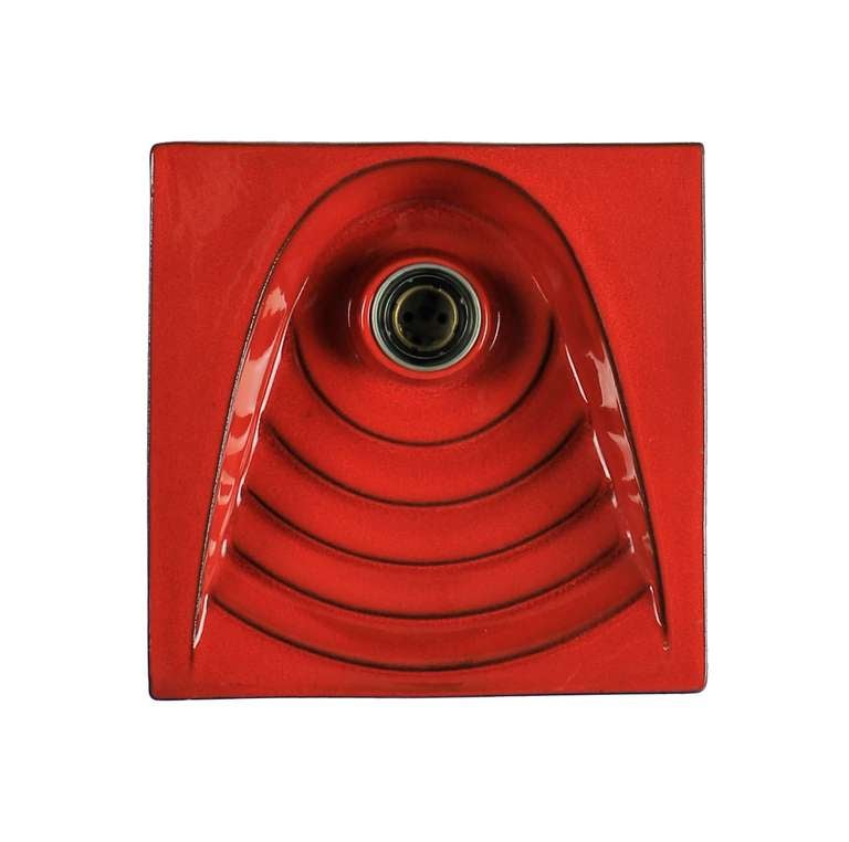 A Pair Of French 60 s Red Ceramic Wall Lights at 1stdibs