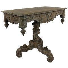 A French Heavily Carved & Limed Oak Table