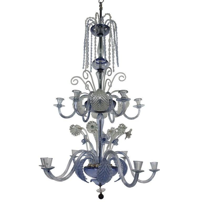 Large Venetian Chandelier in Pale Blue Glass