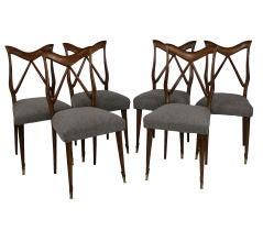 A Set Of Six Elegant Dining Chairs Attributed To Osvaldo Borsani
