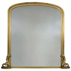 Large French Carved and Water Gilded Over-Mantle Mirror