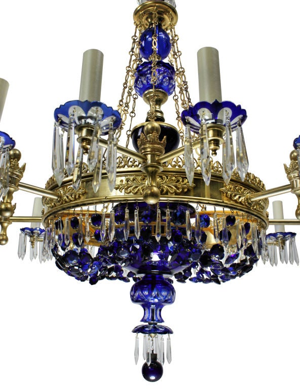 A Large Blue Glass Bohemian Chandelier At 1stdibs