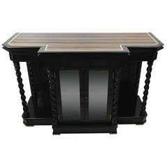 Exceptional Campaign Chiffonier in Solid Ebony, Ivory and Palisander