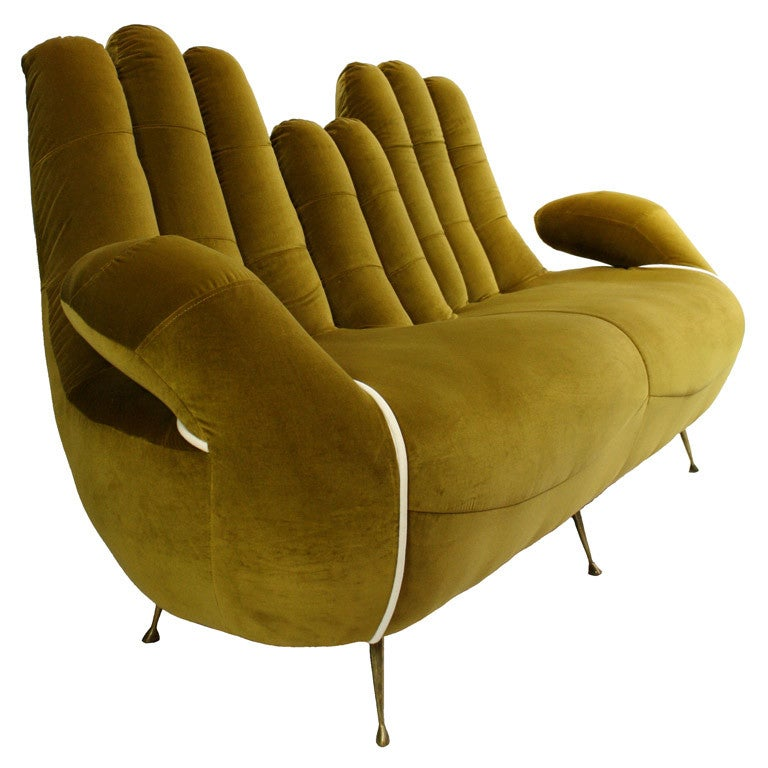An italian 50 39 s 60 39 s sofa in the form of cupped hands at for Furniture 60s style