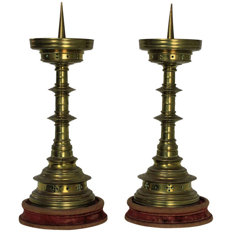 A Pair Of Late 17th Century Flemish Pricket Sticks  1