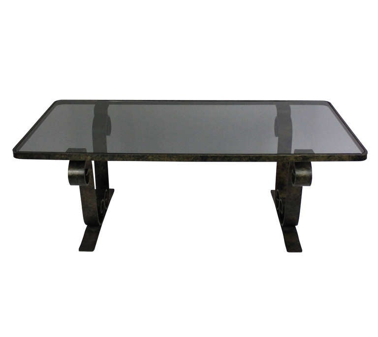 A French Fer Forge Scroll End Occasional Table at 1stdibs