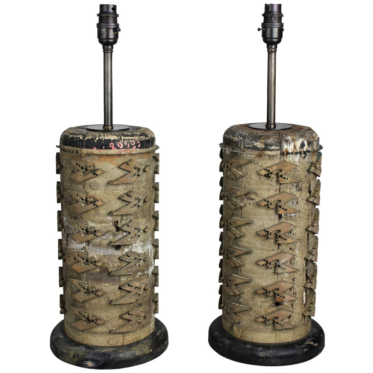 Pair of French 19th Century Print Roll Lamps