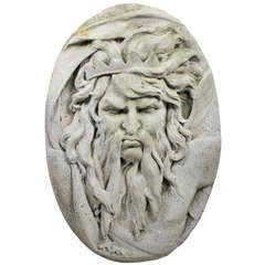 A Large Carved Stone Plaque Of Neptune