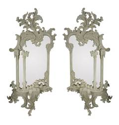 A Pair Of Carved & Painted Chippendale Style Mirrors