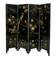 A Fine Quing Dynasty Chinese Coromandel Screen In Jade & Quartz