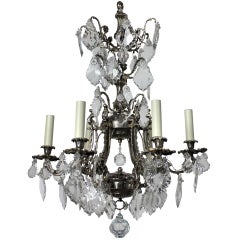 French Silver Plated Bronze and Cut Glass Cage Chandelier