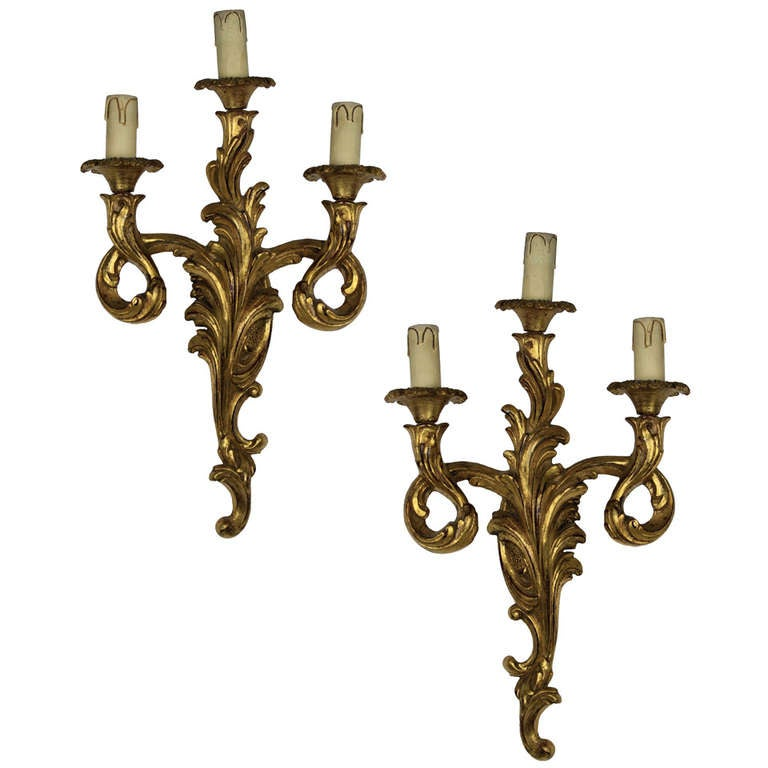 French Wooden Wall Lights : A Pair of French Carved Gilt Wood Wall Lights at 1stdibs
