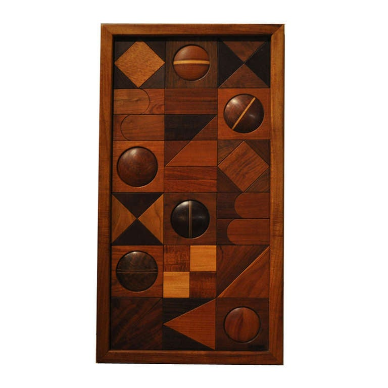 Modern Relief Wood Wall Sculpture