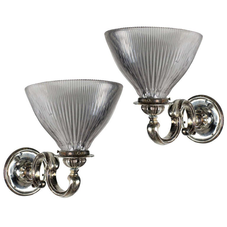 Pair of Silver Plated Bronze Victorian Wall Sconces
