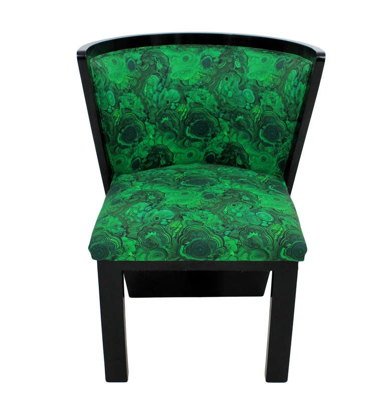 A Pair Of 30's French Chairs In Malachite 2