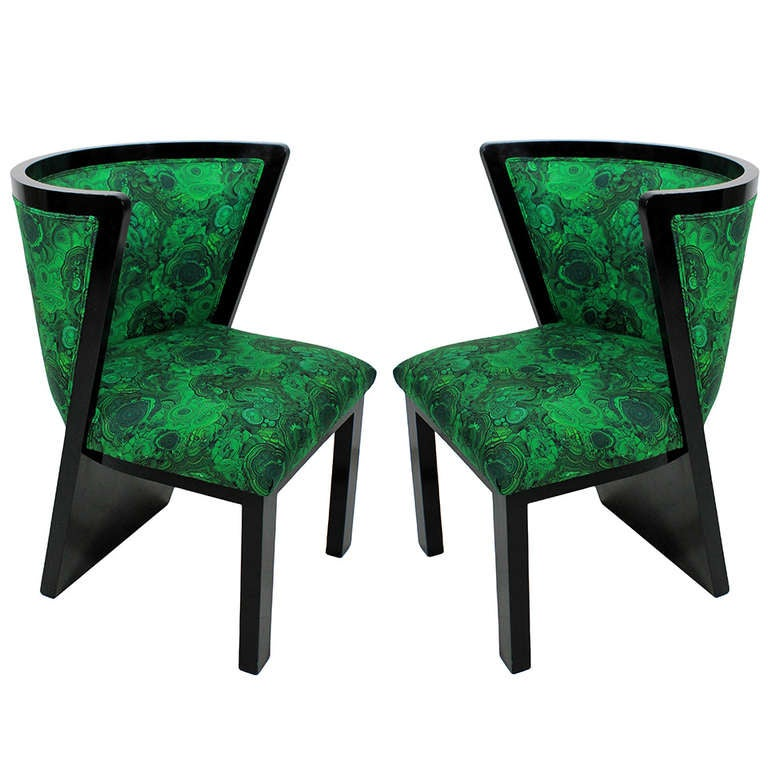 A Pair Of 30's French Chairs In Malachite 1